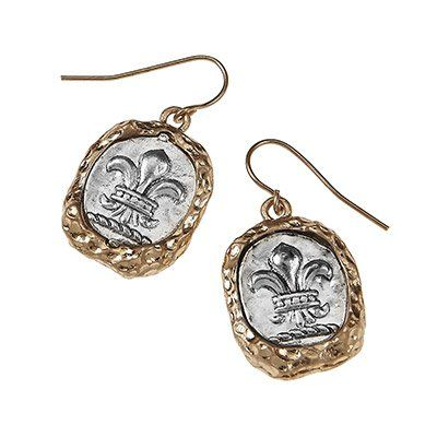 Amazon.com: Inspirational & Religious Artisan 2-tone Wax Seal Casting Earrings - Fleur De Lis •Features: * Antique Silver/ Worn Gold Plating...