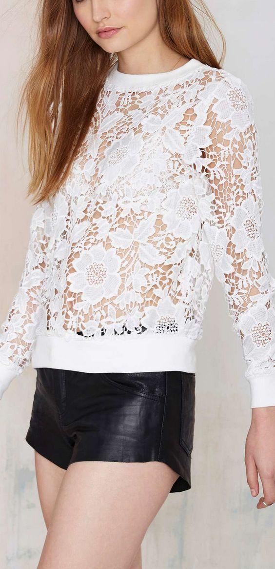 embroidered cutwork sweatshirt