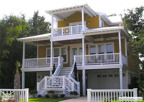 Ideas beach cottages and beaches on pinterest for Elevated house plans with porches