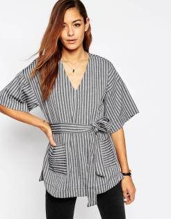 T-shirt rayé ceinturé à encolure en V Asos - Charonbelli's blog mode