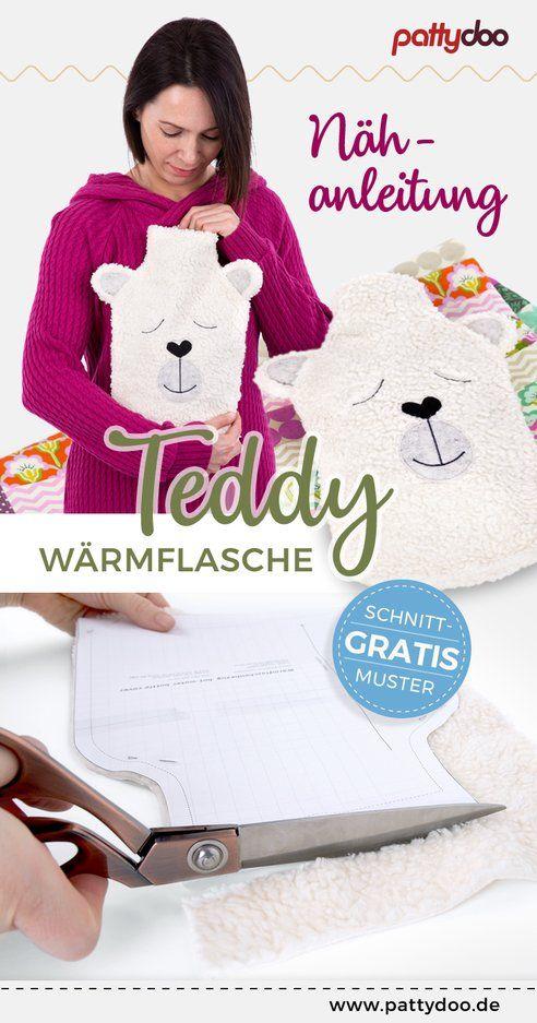 Freebie Schnittmuster Warmflasche Teddy Bezug Nahen Nahanleitung Diy Geschenkideen Fur Kinder Schnittmuster