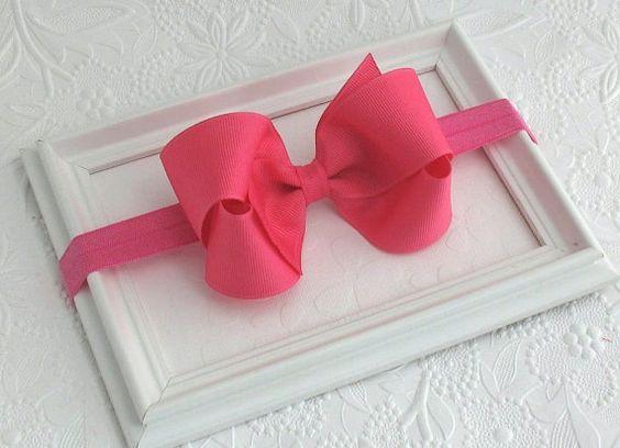 Hot Pink Baby Bow Headband Baby Headband by PinkLemonadeDuxbury