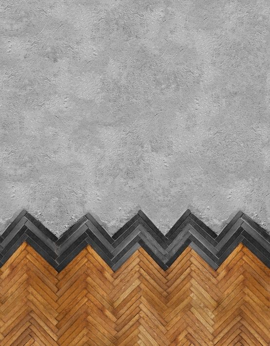 Amazing combo of both concrete & herringbone wood installation | Behang WALL & DECO | Designwebwinkel