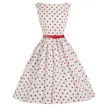 'Audrey' White Polka Swing Dress