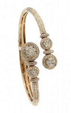 14K Rose Gold Pave Diamond Bangle