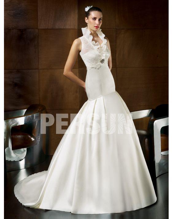 Shopping for Enticing Mermaid Chapel Train Ruffle Pleats Wedding Dress in Our Wedding Dresses Shop
