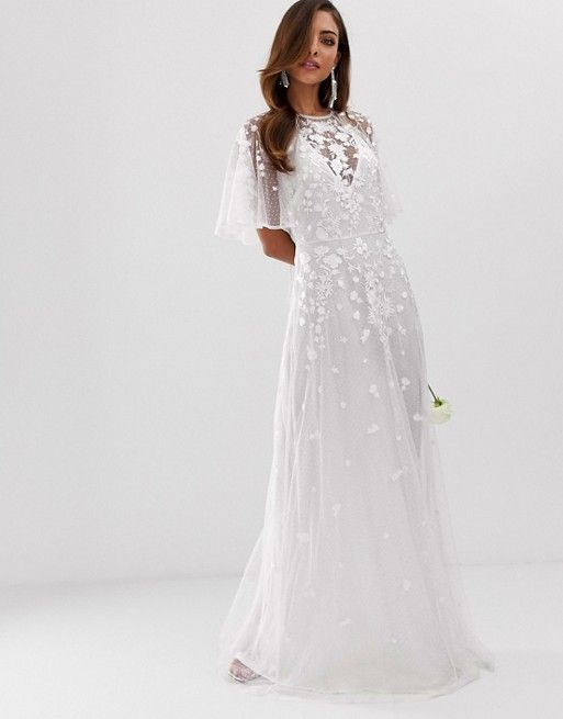 Asos Edition Wedding Floral Embroidered Dobby Mesh Flutter Sleeve Maxi Dress Asos Asos Wedding Dress Maxi Dress With Sleeves Maxi Dress Wedding