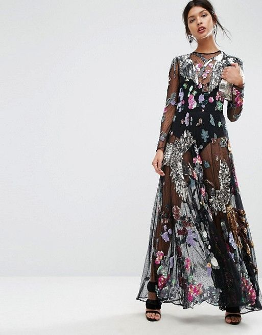 ASOS | ASOS SALON Embellished Bird Floral Maxi Dress