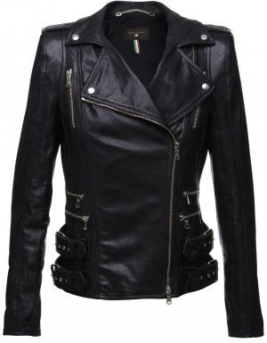 Black Leather Jacket...the zipperson the waist give EVERY girl a ...