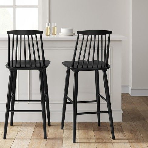 Harwich High Back Windsor Barstool Threshold Black Bar Stools