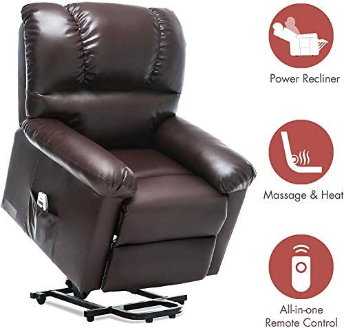 New Orimoster Electric Lift Chairs Recliners Elderly Massage Heat Brown Ergonomic Large Leather Power Lift Recliner Remote Usb Port Side Pocket Online In 2020 Lift Chair Recliners Lift Recliners Lift Chairs