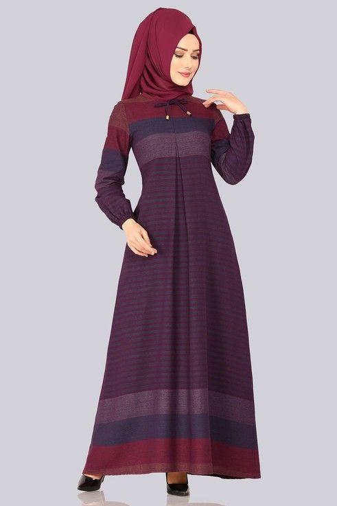 Modaselvim Elbise Bagcik Detay Elbise 4032ef311 Indigo Mor Elbise Islami Giyim Elbiseler