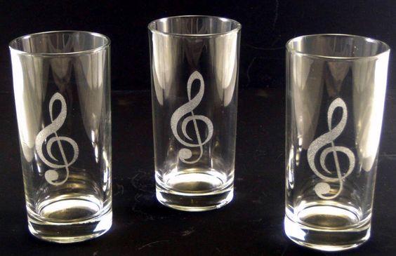 3er Set Longdrinkglas Violinschlüssel Gläser für Gäste