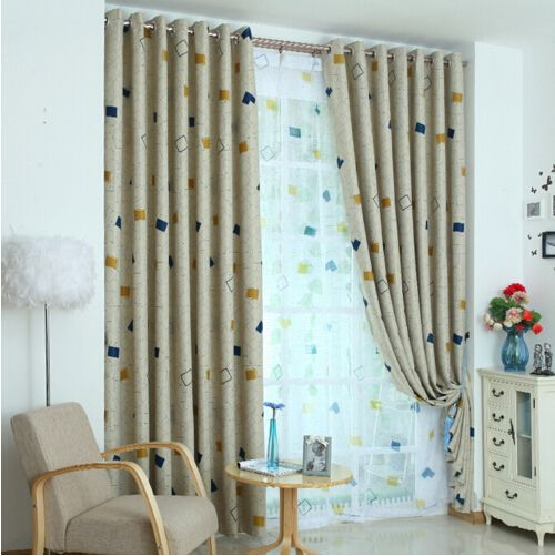 Pastoral Plaid Pattern Polyester Insulated and Privacy Blackout Curtain