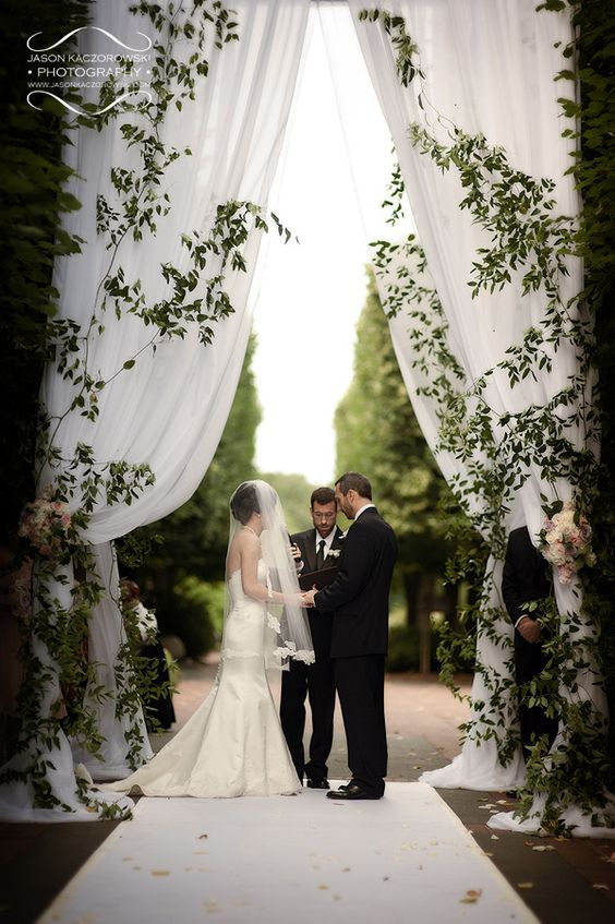 Chuppah rose terrace bride and groom italian entrance and tent for Chicago botanic garden wedding
