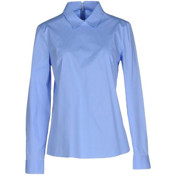 Jil Sander Navy Blouse (235 CAD) ❤ liked on Polyvore featuring tops, blouses, sky blue, blue long sleeve top, blue top, blue long sleeve blouse, zip top and zipper blouse