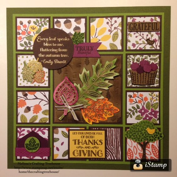 """DIY, home decor framed art with autumn theme and themes of gratitude. The """"Into The Woods"""" designer paper, Lighthearted Leaves stamp set, Leaflets framelits, Tree Builder  punch, Sprinkles of Life Stamp Set, Woodlands Embossing Folder, Among The Branches stamp set, September Paper Pumpkin Stamp set and much more. All products used are by Stampin' Up!."""