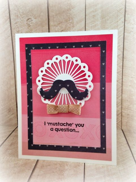 January SOTM I 'Mustache' You a Question card by Taylor VanBruggen #ValentinesLove, #StampoftheMonth, #Cardmaking, http://tayloredexpressions.com/kits.html