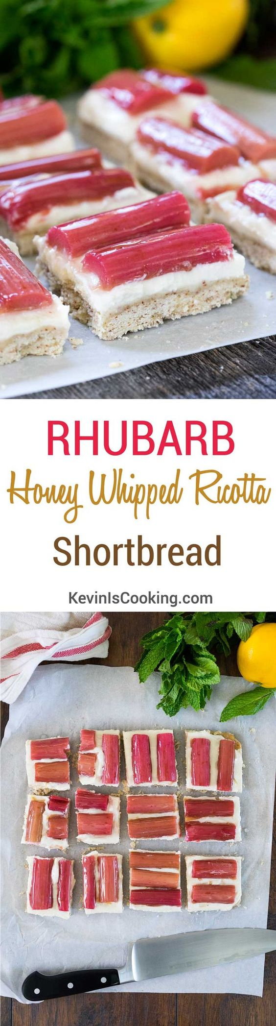 Rhubarb and Honey Whipped Ricotta Shortbread. http://www.keviniscooking.com