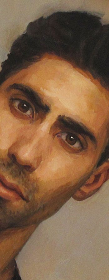 """Self Portrait"" - Adam Forfang, 2009, oil on panel {contemporary artist male head man face detail}"