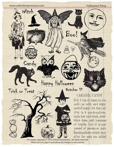 Halloween Party Rubber Stamp Collection door oxfordimpressions, $24.00
