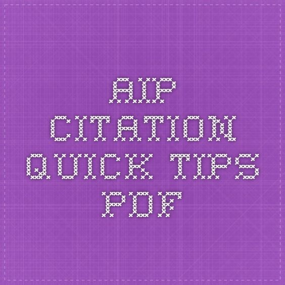 AIP Citation Quick Tips PDF