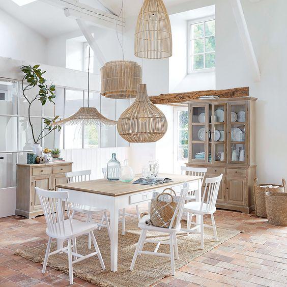 Lámpara de techo de mimbre trenzado y metal blanco | Maisons du Monde