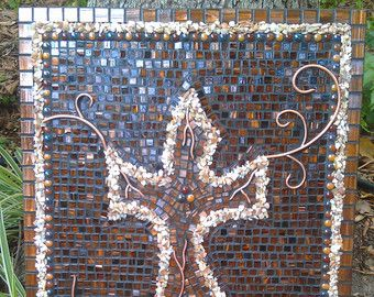 Golden Brown Mosaic Art Cross Wall Decor with Mother of Pearl Shell, Glass Drops and Original Copper Wire Accents