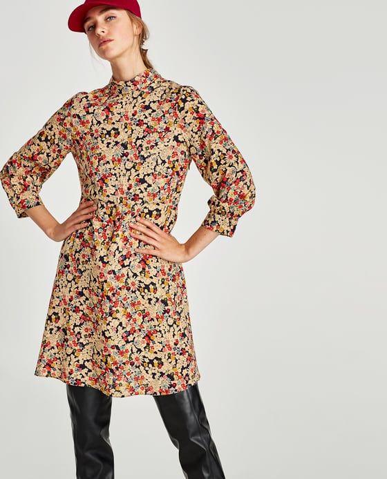 Eikona 2 Toy Forema Me Stroggylh Kleisth Laimokopsh Apo Zara Zara Floral Dress High Neck Dress High Fashion Street Style