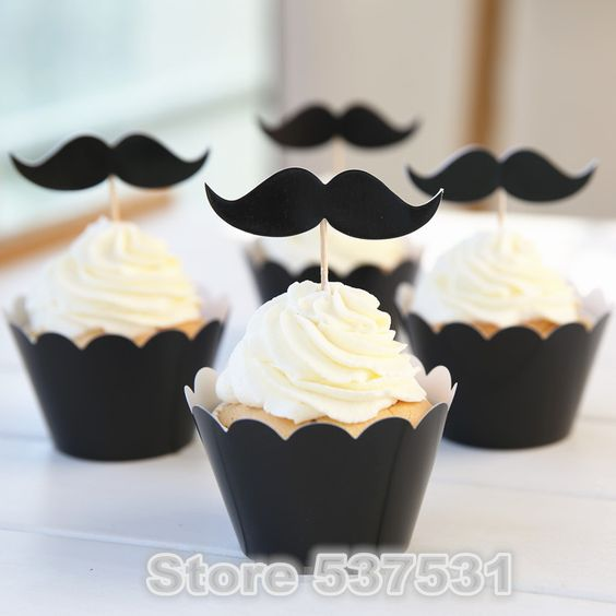 Free Shipping Mustache cupcake wrappers decoration wedding party favors ,   Mustache cup cake toppers picks supplies stand