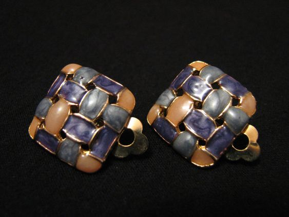 Vintage Square Basket Weave Gold Tone and Pastel by ditbge on Etsy, $7.50