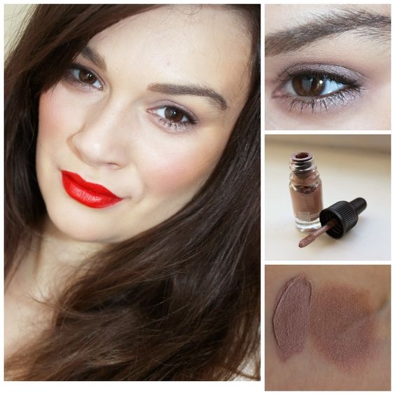 Taupe eyeshadow and orangeish-red lips