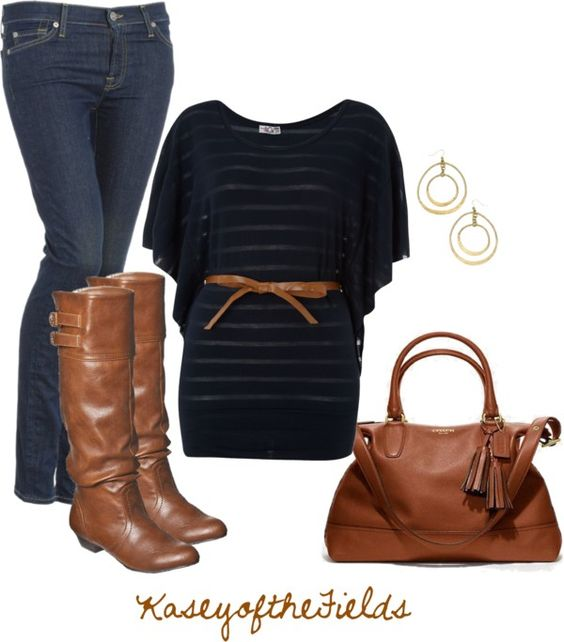 """""""Brown and Black"""" by kaseyofthefields on Polyvore"""