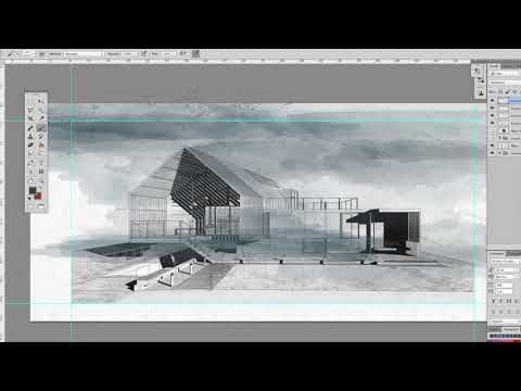Architecture Sketch Watercolor Effects Photoshop Youtube