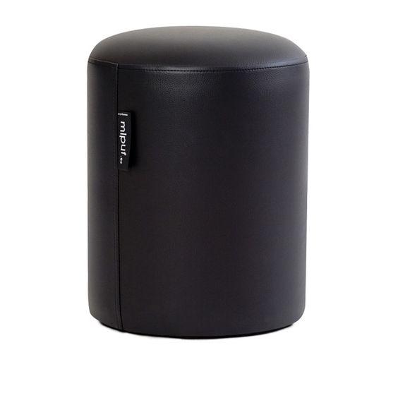 Puf Taburete 40x50 Polipiel Negro