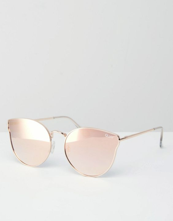 Image 1 of Quay Australia All My Love Rose Gold Metal Cat Eye Sunglasses with Flat Mirror Lens
