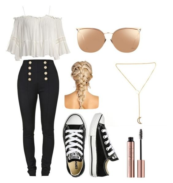 """""""Untitled #87"""" by destiny-mcgeough on Polyvore featuring Sans Souci, Balmain, Converse and Linda Farrow"""