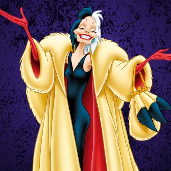 『101匹わんちゃん』に登場する、変わりもので非情な悪女★ ディズニー・ヴィランズのイラスト画像