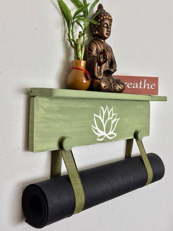 Black Yoga Handmade Black Yoga Mat Holder Handmade Yoga Mat Holder Wall Mounted Yoga Mat Holder Unisex Yoga Gifts Tr Yoga Decor Yoga Mat Holder Yoga Room