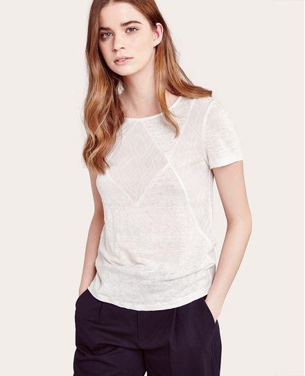 T-shirt en lin avec dentelle Comptoir des Cotonniers SS16 - Couleur BLANC