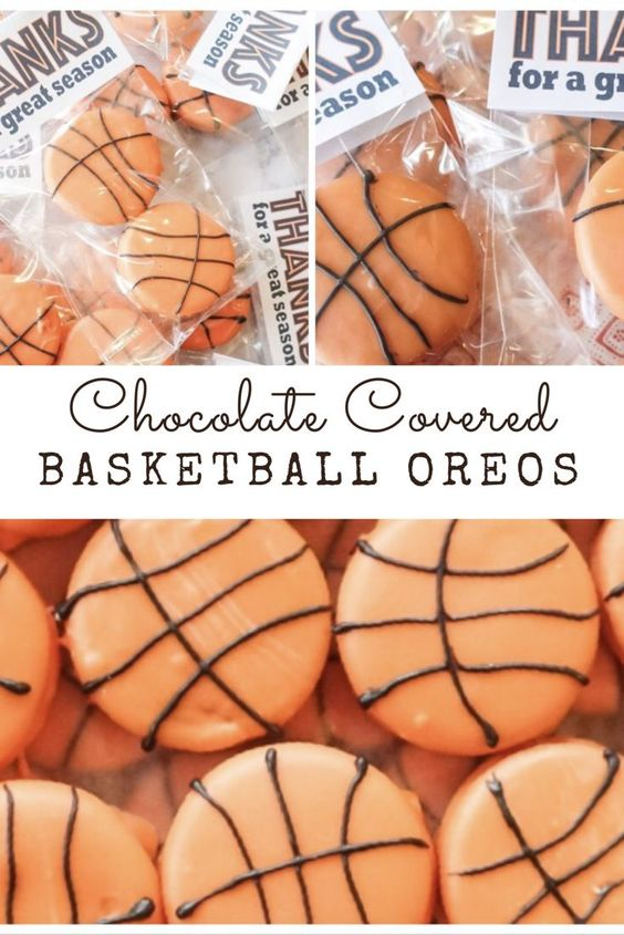 """basketball party / basketball oreos / party snack / chocolate covered oreos / A fun snack to enjoy while watching the games, or filled out the """"treat"""" line on one of those infamous sign-up geniuses for your kiddos end of the season basketball party, these are quick, easy, and make a big impact.  Also, no baking, I count that as an instant win!"""