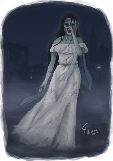 This shows La Llorona,weeping in a torn dress,searching for her lost children.:
