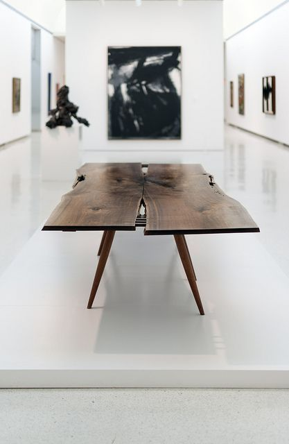 thedesignwalker:  George Nakashima Table: Beautiful Contrast, Interiors Design, George Nakashima, Carnegie Museums, Modern Table, Nakashima Tables, Wooden Tables, Dining Tables, Art Pittsburgh