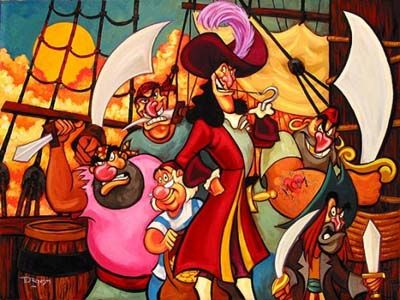 Disney Fine Art - Captain Hook and The Gang from Peter Pan. Biggs Ltd. Gallery. Heirloom quality bridal, art, baby gifts and home decor. 1-800-362-0677. $725.