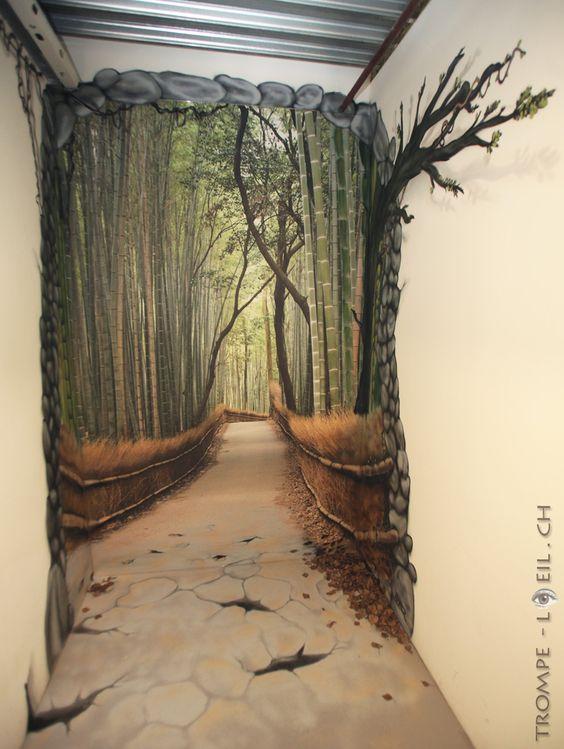 Chemin en trompe l 39 oeil en f ret deco pinterest beautiful nature et peintures murales - Trompe l oeil peinture ...