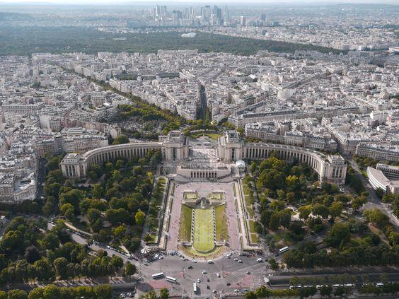 Paris, Le Trocadéro vu de la Tour Eiffel, août 2014
