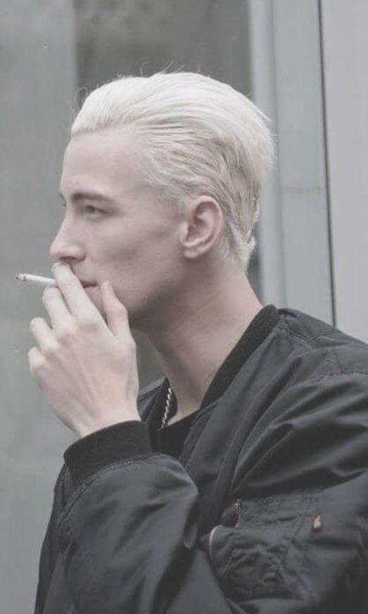Slick Back Platinum Bleached Hairstyle Bleached Hair Men Blonde