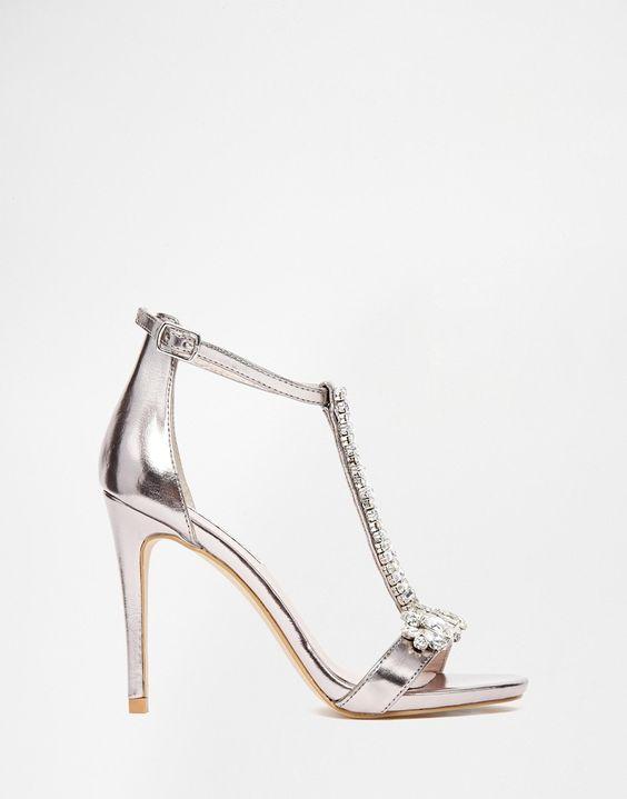 Steve Madden Shawna Silver Embellished Tbar Heeled Sandals ...