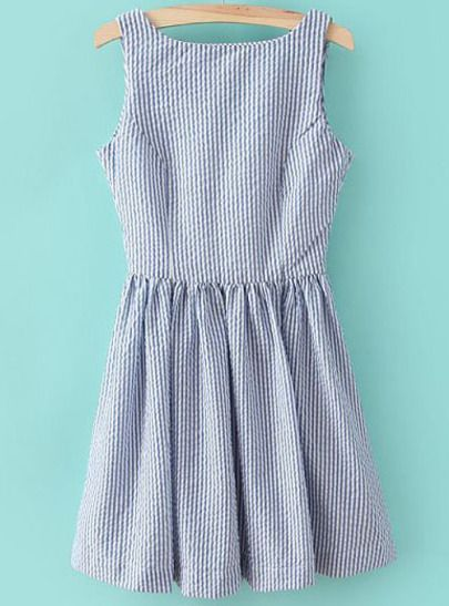 Blue Sleeveless Vertical Stripe Backless Dress pictures