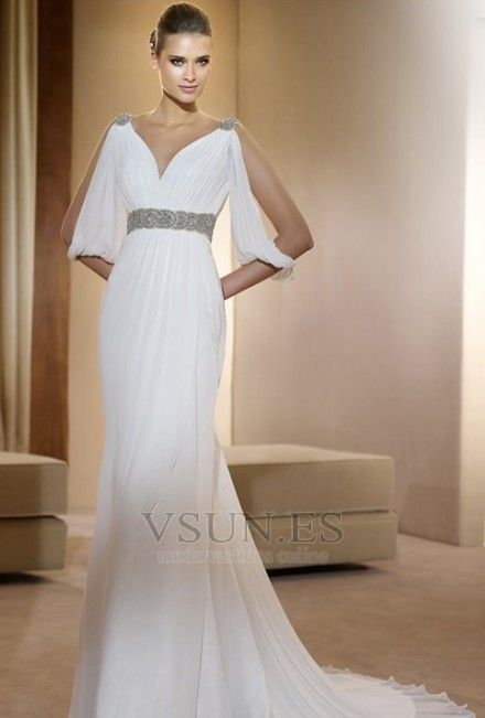 Vestido de novia estilo griego Con velo Abalorio Blanco Moderno Otoño